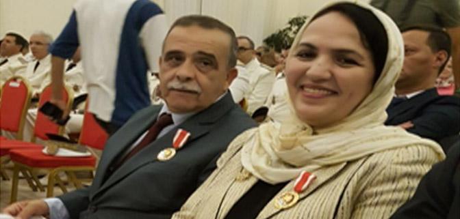 تهنئة بمناسبة توشيح السيد عبد الواحد الشاعر والسيدة نزهة صلاح الدين بوسام الاستحقاق الوطني من الدرجة الممتازة.